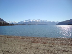 View of the Lake Wanaka from the town of Wanaka