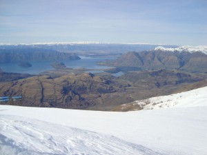 View of Lake Wanaka from the top of Treble Cone